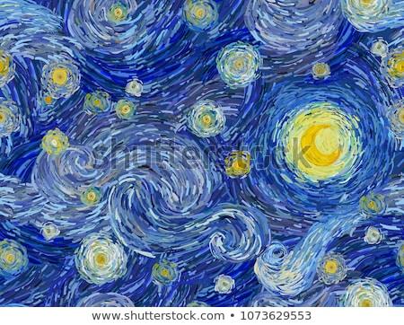 Hold csillagos éjszaka illusztráció telihold buli Stock fotó © opicobello