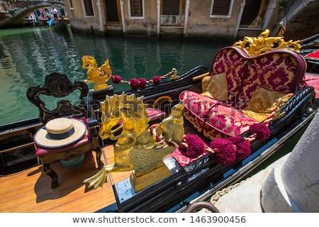 Venetian gondola canal doua bărci apă Imagine de stoc © neirfy