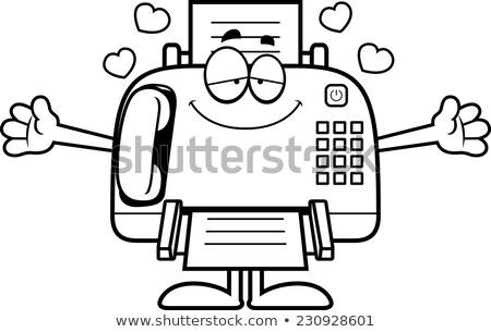 Cartoon Fax Machine Hug Stock photo © cthoman