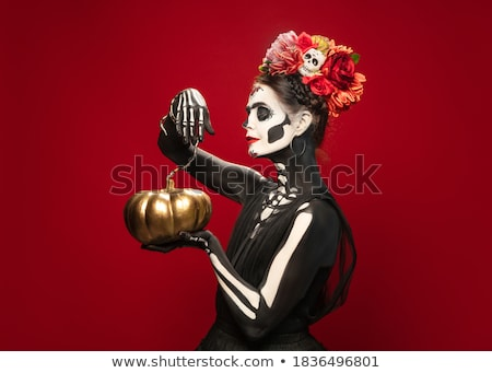 mulher · pintado · como · zumbi · retrato · menina - foto stock © acidgrey