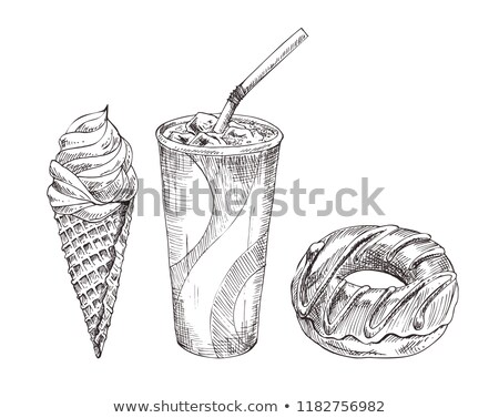 Cola paper cup, dessert vector monochrome sketch Stock photo © robuart