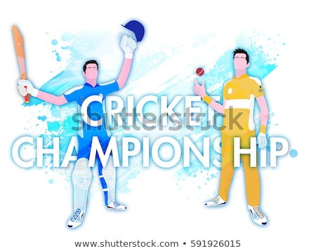 Cricket bowler ready to throw the ball vector illustration. Stock photo © Vicasso
