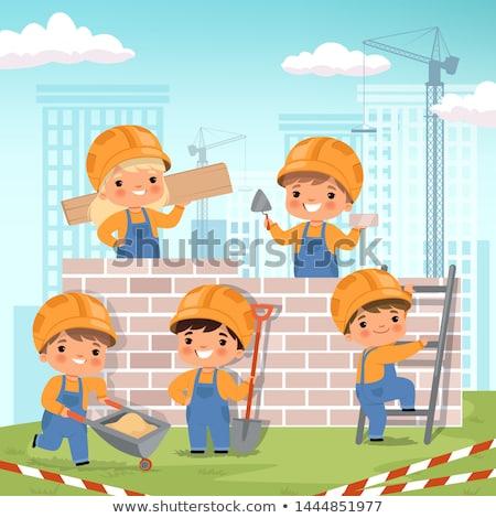 House Construction Worker Cartoon Character Stock photo © Krisdog