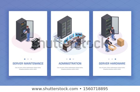 management   set of isometric vector vertical web banners stock photo © decorwithme