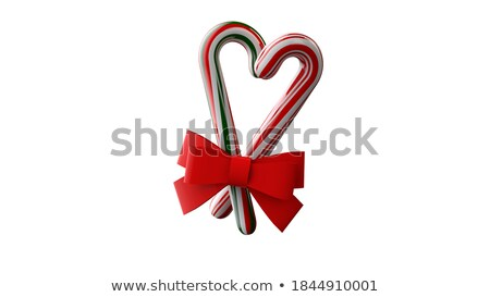 Candy cane, heart and ribbon bow 3D Stock photo © djmilic