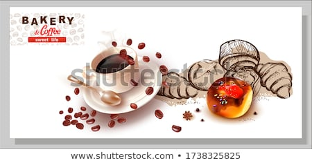 Sketch of coffee mugs on a saucer with a spoon. The inscription is coffee. Vector illustration in sk Stock photo © Arkadivna