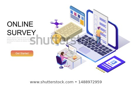 Flat isometric vector landing page template of voting online, e-voting. Stock photo © TarikVision