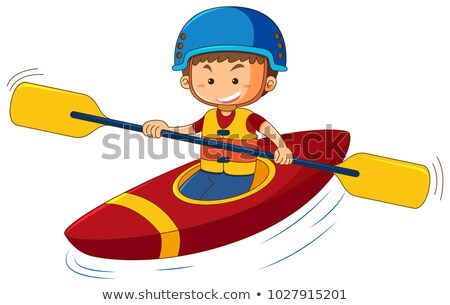 Boy wearing lifejacket and helmet in canoe Stock photo © colematt