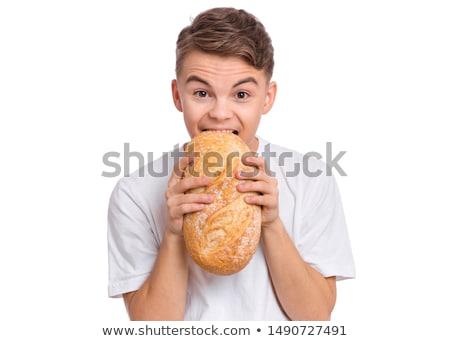 jonge · bakker · brood · brood · Maakt · een · reservekopie · huid - stockfoto © elnur
