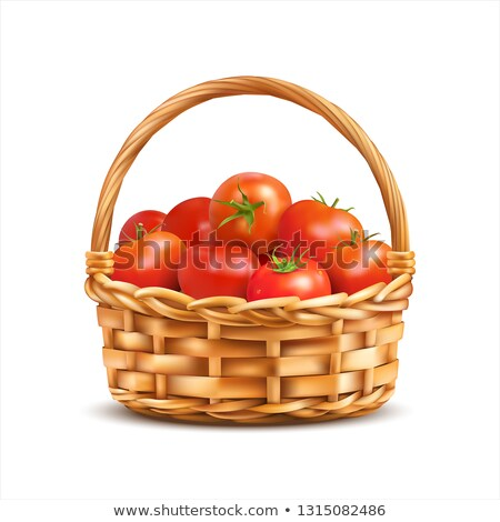 Wicker basket filled with ripe red apples isolated on white background. Food fitness menu. Vector ca Stock photo © Lady-Luck