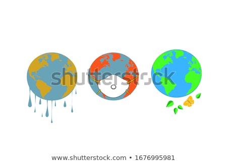 Föld földgömb világtérkép szett bolygó kontinensek Stock fotó © olehsvetiukha