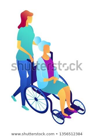 nurse pushing wheelchair with elderly woman isometric 3d illustration stock photo © rastudio