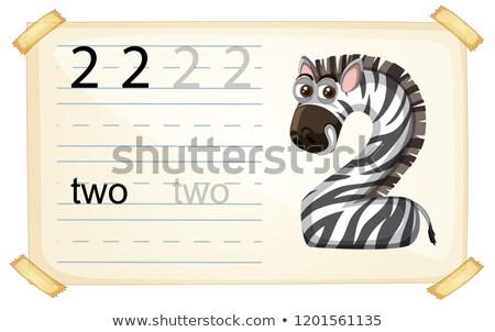 Zebra number two worksheet Stock photo © colematt