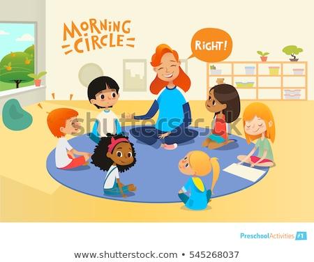 Group of pre-school children during educational activity Foto stock © Kzenon