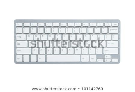 Modern alumínium számítógép billentyűzet izolált számítógép fa Stock fotó © adamson