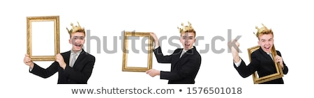 Man with picture frame isolated on the white Stock photo © Elnur
