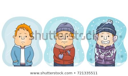 Man Degrees of Comparison Cold Coldest Illustration Stock photo © lenm