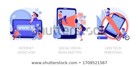 Alacsony tech gyereknevelés pici emberek szülők Stock fotó © RAStudio
