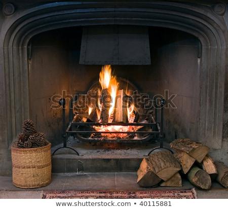 Kandalló tűz égő bent tégla ív Stock fotó © robuart