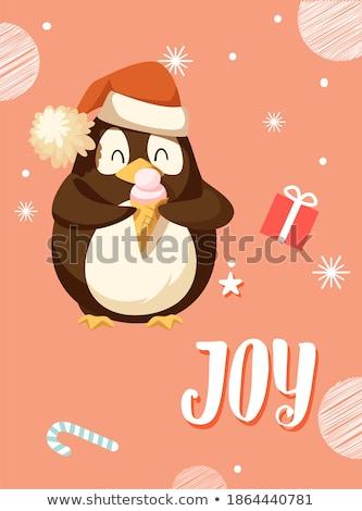 Alegria cartão ártico pinguim comer sorvete Foto stock © robuart