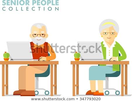 Older Man Using Computer, Senior and Pc Vector Stock photo © robuart