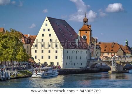 old bridge tower and Salt Warehouse, Regensburg, Germany Stock photo © borisb17