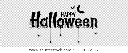 happy halloween orange banner with scary pumpkin and flying bats stock photo © sarts