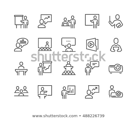 Vergadering conferentie icon business man Stockfoto © bspsupanut