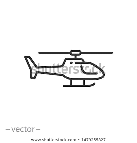 Military helicopter icon isolated on white background, air transport, aviation, vector illustration. Stock photo © MarySan