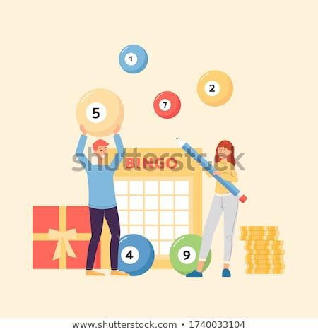 loteria · números · branco · grupo · bola - foto stock © rastudio