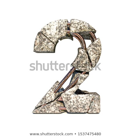 Concrete fracture font Number 2 TWO 3D Stock photo © djmilic