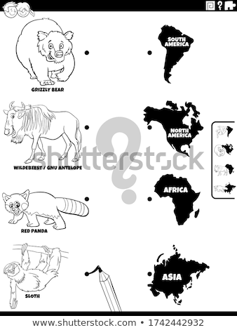 match animals and continents task color book Stock photo © izakowski