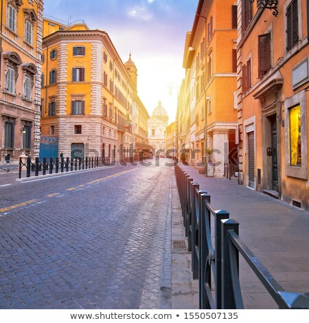 colorful empty street of rome dawn view stock photo © xbrchx