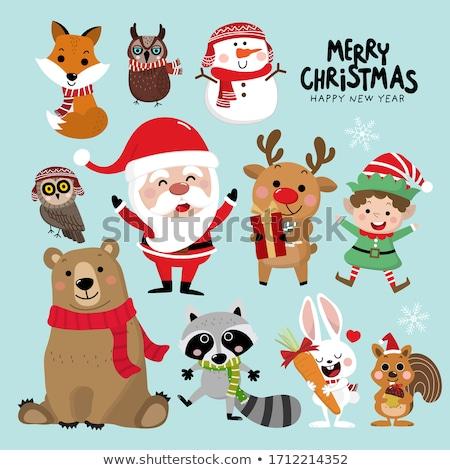 Karácsonyi üdvözlet mikulás rénszarvas mókus karácsony poszter Stock fotó © balasoiu