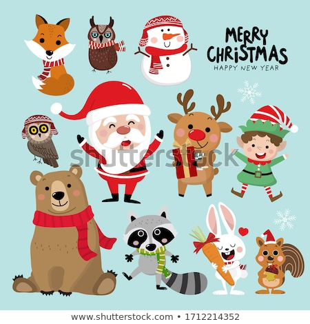 Christmas card with Santa, reindeer and squirrel Stock photo © balasoiu