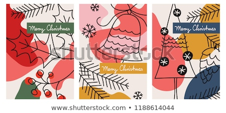 Christmas card with baubles and fir branches Stock photo © balasoiu