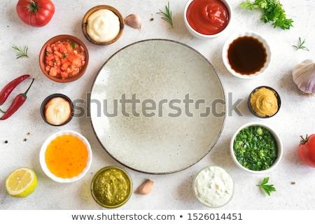 Szett különböző népszerű tálak ketchup mustár Stock fotó © karandaev