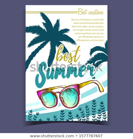Sunglasses, Seaweed And Palm Leaves Banner Vector Stock photo © pikepicture