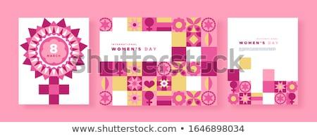 Nőnap rózsaszín virág mértani mozaik szimbólum nemzetközi Stock fotó © cienpies