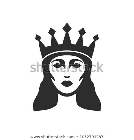 Stock foto: Frau · Königin · tragen · Krone · isoliert · weiß