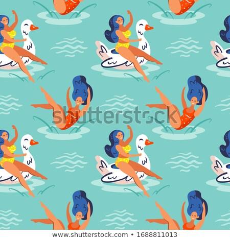 молодые улыбаясь девочек синий волос плаванию Сток-фото © foxbiz