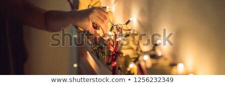 Advent naptár gyermek papír háttér ajándék Stock fotó © galitskaya