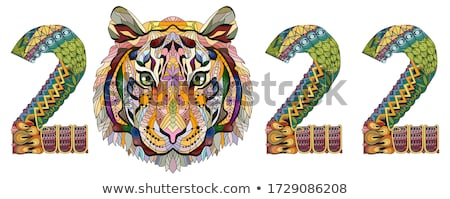 Zentangle stylized tiger number 2022. Hand Drawn lace vector illustration for coloring Stock photo © Natalia_1947