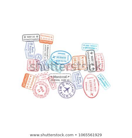 Heldere kleurrijk immigratie postzegels trein vorm Stockfoto © evgeny89