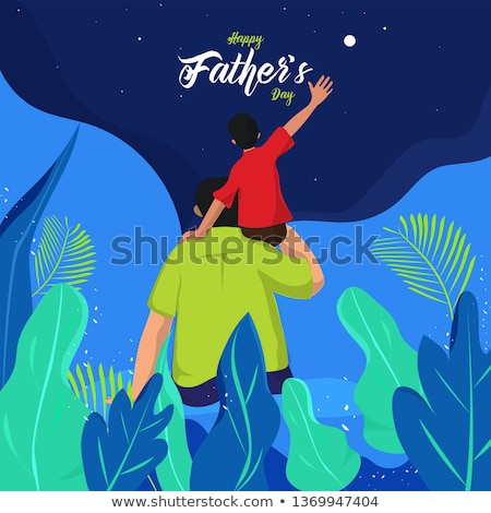 happy father day wishes card with dad and son Stock photo © SArts