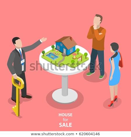 Huis hypotheek isometrische icon vector teken Stockfoto © pikepicture