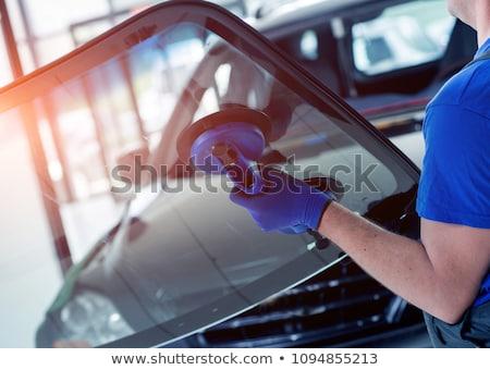 Törött nagy lyuk repedt üveg autó Stock fotó © timbrk