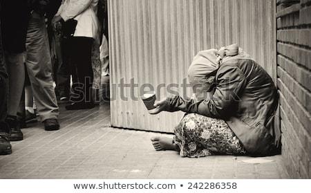 Szegény hajléktalan lány fiatal nő tart üveg Stock fotó © smithore