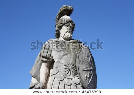 イタリア 戦士 像 ヴィラ 庭園 青 ストックフォト © gant