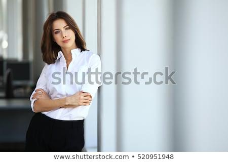 portret · mooie · smart · vrouw · zwart · pak · permanente - stockfoto © darrinhenry